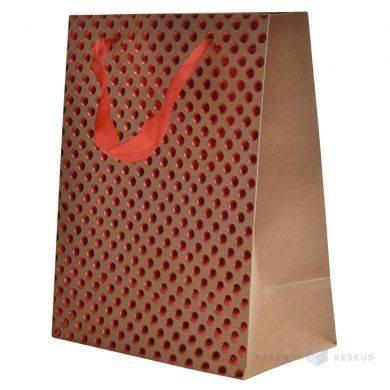 da4304963a Red dots print brown paper bag with ribbon handles 18+10x23cm ...