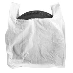 Rehvikotid / Särksangaga valge kilekott 70+30x110cm, pakis 50tk