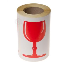 Kleebisetikett trükiga punane klaas, rullis 250tk