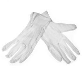 Valged puuvillasest riidest sõrmikud peopesal PVC mikropunktid nr. 7