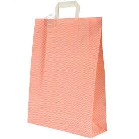 Sangadega oranžide ruutudega PP-kangast kott 32+10x41cm