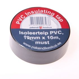 Must PVC isoleerteip 19mm lai, rullis 10m