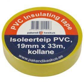 Kollane PVC isoleerteip 19mm lai, rullis 33m