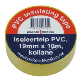 Kollane PVC isoleerteip 19mm lai, rullis 10m