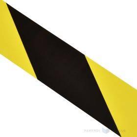 Kollane-must ohuteip ehk hoiatusteip 50mm lai, rullis 33m