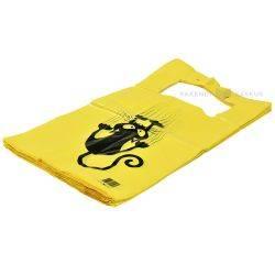 Särksangaga kollane kilekott ''Kass'' 30+18x60cm, pakis 50tk