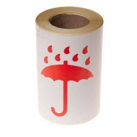 Kleebisetikett trükiga punane vihmavari, rullis 250tk