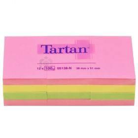 Neoonvärvides märkmepaber Tartan 38x51mm, pakis 12x100lehte