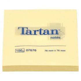 Kollane märkmepaber Tartan 76x76mm, pakis 100lehte