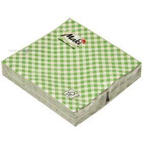 3-kihiline roheliste ruutudega salvrätik 25x25cm, pakis 20tk