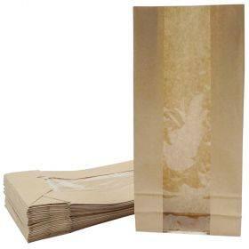 Pruun paberkott aknaga ja laia põhjaga 14+6x29cm, pakis 25tk