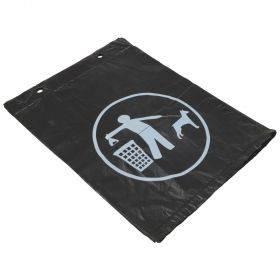 Must kilekott looma väljaheite korjamiseks 25x30+4cm trükiga, plokis 100tk